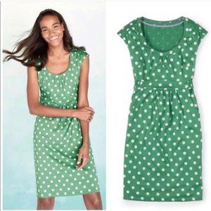 Boden Casual Weekend Dress Green Polka Dot
